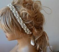 wedding photo - Pearl Headband, Wedding Pearl Headband, Bridal Pearl Headband, Wedding hair Accessory, Bridal Hair Accessory