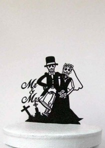wedding photo - Wedding Cake Topper - Halloween Wedding Cake Topper, Skeleton Wedding Cake Topper with Mr & Mrs