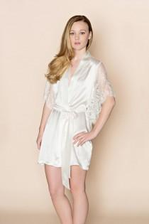 wedding photo - Grace winged wedding silk robe kimono with French Lace sleeves in off white
