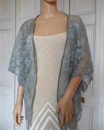 wedding photo - Grey lace kimono/jacket/wrap/cover-up/bolero with satin edging