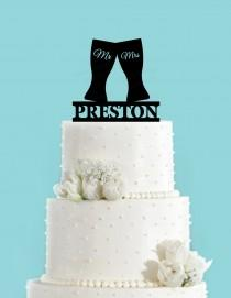 wedding photo - Beer Glasses Toasting Personalized Acrylic Wedding Cake Topper