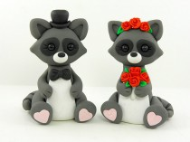 wedding photo - Bride and Groom Raccoon Wedding Cake Topper Polymer Clay