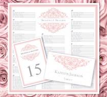 "wedding photo - Wedding Seating Chart ""Grace"" Blush Pink Templates Set Printable Table Number & Place Card Word Templates Order 1 or 2 Color DIY You Print"