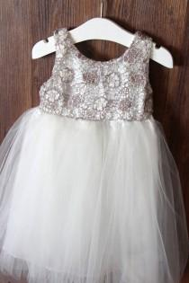 wedding photo - Lace Rustic Girls Dress(Sophia Dress) - Rustic Flower Girl Dress – Girls Birthday dress-Flower Girl Gift
