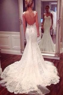 wedding photo - Strap Sweetheart Backless Mermaid Lace Wedding Dress Ball Gown WD026