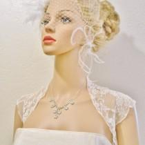 wedding photo - Wedding Bolero, Lace STRETCHY, Delicate Vintage Style Bridal Shrug, High Quality