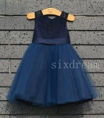 wedding photo - Navy blue Lace  Flower Girl Dress navy blue ribbon/bow Country Wedding Baby Girls Dress Tulle Rustic Baby Birthday Dress