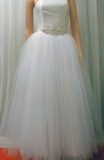 wedding photo - Tutu  Wedding Gown SKIRT overlay , Tulle Skirt With Satin Ribbon Top