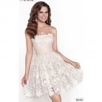 wedding photo - Cream/Salmon Strapless Lace Mini Dress by Tarik Ediz - Color Your Classy Wardrobe