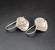 wedding photo - Sterling Hydrangea Leaf, Nature, Leaf, Leaves, Dangle Silver Drop Earrings, Earrings, Hydrangea, Silver Earrings Simple Jewelry Gift