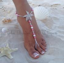 wedding photo - Coral Barefoot Sandals, Starfish Barefoot Sandal, Bridal Barefoot Sandals, Bridal Foot Jewelry, Footless Sandal