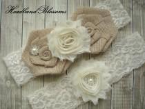 wedding photo - IVORY Bridal Garter Set - Keepsake & Toss Garters - Burlap Chiffon Flower Pearl Lace Garters - Rustic Country Wedding - Cream Lace Garder