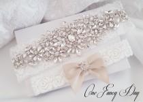 wedding photo - Gold Wedding Garter, Rhinestone Garter, Lace Garte Set, Bridal Garter, Bridal Garter, Handmade Garter, Gold Garter Set