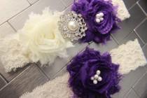 wedding photo - Purple Garter Set - Royal Purple Wedding Garters Dark Purple Garter, Purple Garder, Purple plus size garter, weddings purple wedding garder