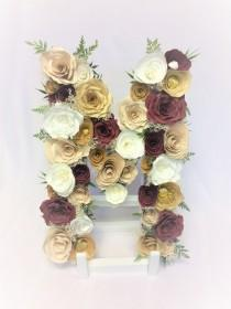 wedding photo -  Stunning gold, champagne and burgundy paper flowers fill this floral initial - $89.00 USD