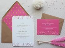 wedding photo - Confetti Wedding Invitation Suite, Modern Wedding Invitations, Pink and Gold, Sweet Wedding Invitation Suite - Confetti Dots