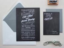 wedding photo - Rustic Wedding Invitation, Wedding Invitations, Modern, Typography, Custom Wedding Invitation Set - Chalkboard Sample