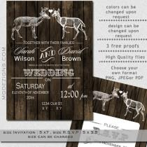 wedding photo - PRINTABLE Wedding Invitation Template, Buck Doe Wedding Invitation, Rustic Wedding Invitation Templates, Invitation Template, Winter Wedding