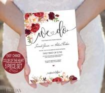 wedding photo - Burgundy Flowers Watercolor Floral We do Wedding Invitation Template 5 piece Suite-DIY Printable Invitations-PDF-Download Instantly