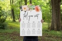 wedding photo - Wedding Seating Chart,Wedding Seating Plan,Printable Wedding Seating Chart, Custom Sizing, Boho Botanical Watercolour
