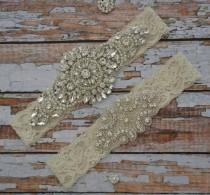 wedding photo - Wedding Garter, Wedding Garter Set, Blue, White or Ivory Rhinestone Garter Set, Bridal Garter Belt, Blue, White or Ivory Garter Set, B19