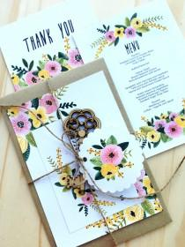 wedding photo - Printable Wedding Invitation Set, RSVP, Thank You Card, Wedding Menu, Sticker, Digital DIY Wedding Invitations Rustic Vintage Sweet Simple