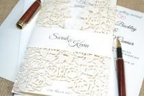 wedding photo - Ivory wedding invitation, laser cut wedding invitation,lace wedding invitation with envelope , romantic wedding invitation, Laser cut invite