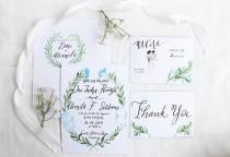 wedding photo - Watercolor Botanical Wedding Invitation, Calligraphy Wedding Invitation, Handmade Wedding Invitation, Hand letter wedding invitation