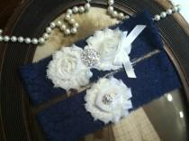 wedding photo - SALE-Wedding Garter - Navy Blue Lace Garter Set - Garter - Vintage - Bridal Garter - Vintage Garter - Toss Garter - Rhinestone - Pearl