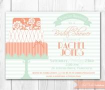 wedding photo - Bridal Shower Invitation. Peach & Mint Vintage Inspired Bridal Shower Invite.