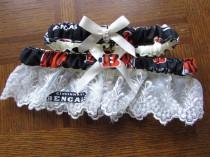 wedding photo - Cincinnati Bengals  football Ivory Cream Lace trim Sequin Garter set