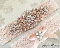 wedding photo - Rose Gold Blush Lace Bridal Garter Set, Lace Wedding Garter, Personalized Garter, Ivory Lace Garter, Rose Gold Wedding Garter