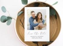 wedding photo - Photo Save the Date Printable Postcard or Magnet, Calligraphy Save Our Date, Modern Save-the-Date Postcard, Photo Announcement, Date Card