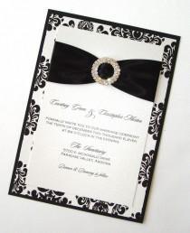 wedding photo - Damask Wedding Invitation - Elegant Wedding Invitation - Romantic Wedding Invitation - Black White Invite - Courtney Sample