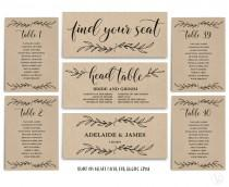 wedding photo - Vintage Wedding Seating Chart template, Header Signs and Table Signs 1-40, Printable Wedding Table chart, INSTANT DOWNLOAD, SC001, VW01