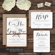 wedding photo - SAMPLE Rustic Wedding Invitation with RSVP and Detail Cards - Wedding Invitation Suite - Organic, Barn, Farm, Simple, Elegant Style - SAMPLE