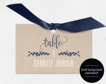 wedding photo - Wedding Place Cards, Wedding Place Card Printable, Place Card Template, Wedding Printable, Navy Blue Wedding, PDF Instant Download #BPB219_6