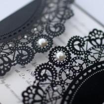 wedding photo - 100 x Vintage Style Lasercut Black Lace Doily Invitation