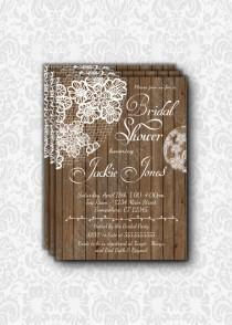wedding photo - Beautiful, rustic and simple wood & Lace Bridal Shower Invitation. PRINTABLE or PRINTED Invitation for a Wedding Shower.  White and brown