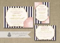 wedding photo - Blush Pink & Gold Wedding Invitation RSVP Info Card 3 Piece Suite Navy Stripes Bloom Shabby Chic Vintage Rustic DIY or Printed - Madison