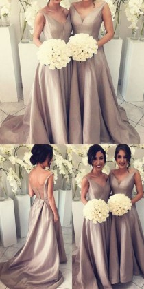 wedding photo - Simple Bridesmaid Dress - Silver V