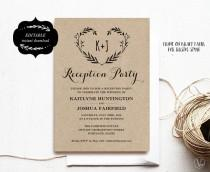 wedding photo - Wedding Reception Party Invitation Template, Kraft Reception Card, Instant DOWNLOAD - EDITABLE Text - 5x7, RP005, VW08