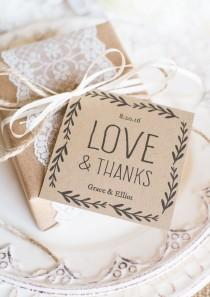 wedding photo - Rustic Wedding Favor Tags, Printable Favor Tag Template, Kraft Paper Label,  - DOWNLOAD Instantly - EDITABLE Text - Love & Thanks, 3x3