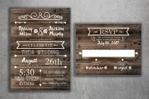 wedding photo - Rustic Country Wedding Invitations Set Printed - Cheap Wedding Invitations, Burlap, Kraft, Wood, Affordable, Woodsy, Lights, Outside,