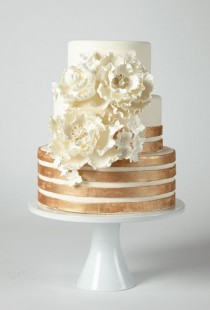 wedding photo - Cake With Copper Stripes And Flowers - A Glamorous Ivory Cake With Copper Stripes And Flowers