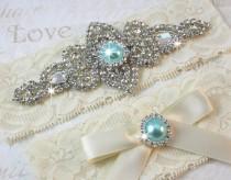 wedding photo - SALE - Best Seller - CHLOE II - Aqua Blue Wedding Garter Set, Wedding Lace Garter, Rhinestone Bridal Garters, Something Blue