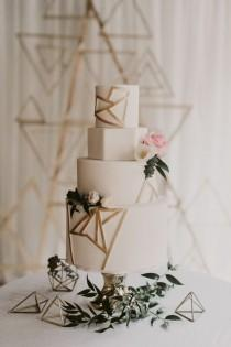 wedding photo - Modern Industrial Gold And White Wedding With A Love For Geometry