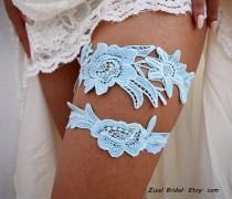 wedding photo - Garter Set, Wedding Garter Blue, Light Blue Garter, Wedding Garter, Bridal Garter, Something Blue, Wedding Gift, Handmade Garter, Garter Set
