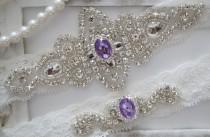 wedding photo - SALE - Wedding Garter Set, Bridal Garter Set, Vintage Wedding, Ivory Lace Garter, Purple Wedding Garter- Style 100C - Style 100C