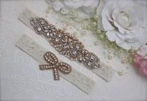 wedding photo - rose gold garter/rose gold bridal garter/Bridal garter set/Rhinestone garter/Lace garter/gold garter/rose gold and ivory garter set/bridal